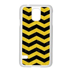 Chevron3 Black Marble & Yellow Colored Pencil Samsung Galaxy S5 Case (white)