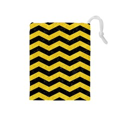 Chevron3 Black Marble & Yellow Colored Pencil Drawstring Pouches (medium)
