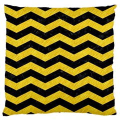 Chevron3 Black Marble & Yellow Colored Pencil Standard Flano Cushion Case (one Side)