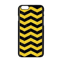Chevron3 Black Marble & Yellow Colored Pencil Apple Iphone 6/6s Black Enamel Case