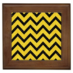 Chevron9 Black Marble & Yellow Colored Pencil Framed Tiles