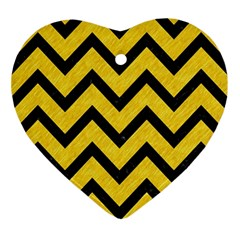 Chevron9 Black Marble & Yellow Colored Pencil Ornament (heart)