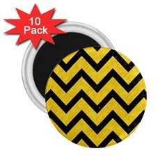 Chevron9 Black Marble & Yellow Colored Pencil 2 25  Magnets (10 Pack)