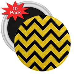 Chevron9 Black Marble & Yellow Colored Pencil 3  Magnets (10 Pack)