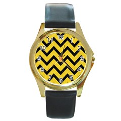 Chevron9 Black Marble & Yellow Colored Pencil Round Gold Metal Watch