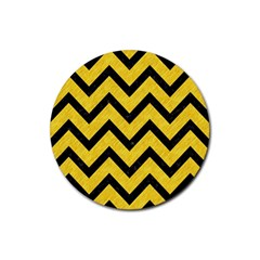 Chevron9 Black Marble & Yellow Colored Pencil Rubber Round Coaster (4 Pack)