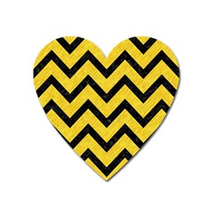 Chevron9 Black Marble & Yellow Colored Pencil Heart Magnet