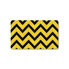 Chevron9 Black Marble & Yellow Colored Pencil Magnet (name Card)