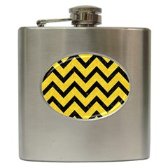 Chevron9 Black Marble & Yellow Colored Pencil Hip Flask (6 Oz)