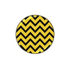 Chevron9 Black Marble & Yellow Colored Pencil Hat Clip Ball Marker (4 Pack)