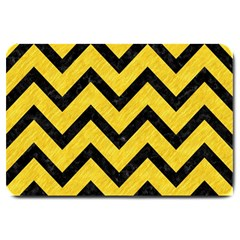Chevron9 Black Marble & Yellow Colored Pencil Large Doormat