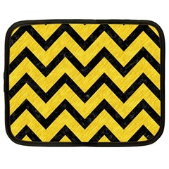 Chevron9 Black Marble & Yellow Colored Pencil Netbook Case (large)
