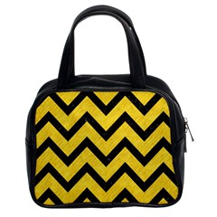 Chevron9 Black Marble & Yellow Colored Pencil Classic Handbags (2 Sides)