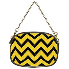 Chevron9 Black Marble & Yellow Colored Pencil Chain Purses (one Side)