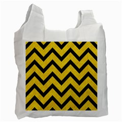 Chevron9 Black Marble & Yellow Colored Pencil Recycle Bag (two Side)