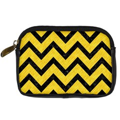 Chevron9 Black Marble & Yellow Colored Pencil Digital Camera Cases