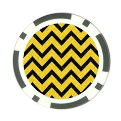 Chevron9 Black Marble & Yellow Colored Pencil Poker Chip Card Guard (10 Pack)