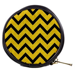 Chevron9 Black Marble & Yellow Colored Pencil Mini Makeup Bags