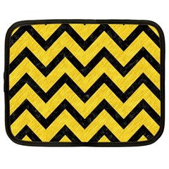 Chevron9 Black Marble & Yellow Colored Pencil Netbook Case (xl)
