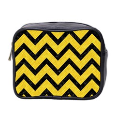 Chevron9 Black Marble & Yellow Colored Pencil Mini Toiletries Bag 2 Side