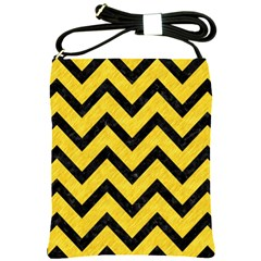 Chevron9 Black Marble & Yellow Colored Pencil Shoulder Sling Bags