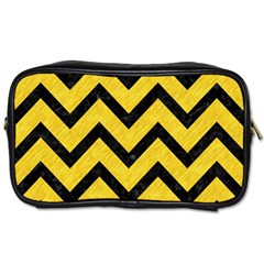 Chevron9 Black Marble & Yellow Colored Pencil Toiletries Bags