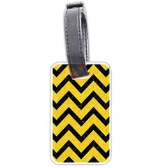 Chevron9 Black Marble & Yellow Colored Pencil Luggage Tags (two Sides)