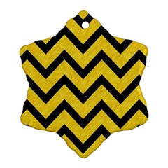 Chevron9 Black Marble & Yellow Colored Pencil Snowflake Ornament (two Sides)