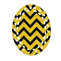 Chevron9 Black Marble & Yellow Colored Pencil Ornament (oval Filigree)