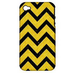 Chevron9 Black Marble & Yellow Colored Pencil Apple Iphone 4/4s Hardshell Case (pc+silicone)