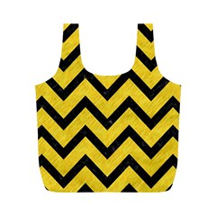 Chevron9 Black Marble & Yellow Colored Pencil Full Print Recycle Bags (m)