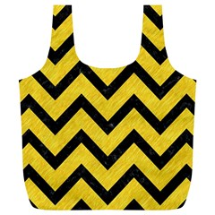 Chevron9 Black Marble & Yellow Colored Pencil Full Print Recycle Bags (l)