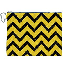 Chevron9 Black Marble & Yellow Colored Pencil Canvas Cosmetic Bag (xxxl)