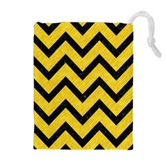 Chevron9 Black Marble & Yellow Colored Pencil Drawstring Pouches (extra Large)