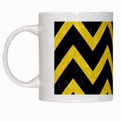 Chevron9 Black Marble & Yellow Colored Pencil (r) White Mugs