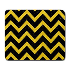 Chevron9 Black Marble & Yellow Colored Pencil (r) Large Mousepads