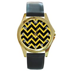 Chevron9 Black Marble & Yellow Colored Pencil (r) Round Gold Metal Watch