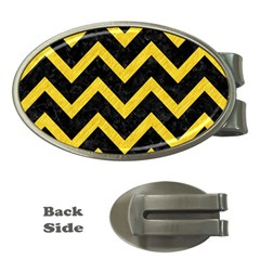 Chevron9 Black Marble & Yellow Colored Pencil (r) Money Clips (oval)