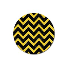 Chevron9 Black Marble & Yellow Colored Pencil (r) Magnet 3  (round)