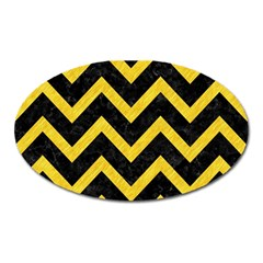 Chevron9 Black Marble & Yellow Colored Pencil (r) Oval Magnet