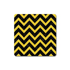 Chevron9 Black Marble & Yellow Colored Pencil (r) Square Magnet
