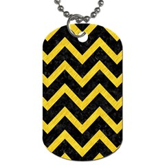 Chevron9 Black Marble & Yellow Colored Pencil (r) Dog Tag (two Sides)
