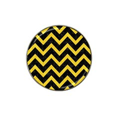 Chevron9 Black Marble & Yellow Colored Pencil (r) Hat Clip Ball Marker (4 Pack)