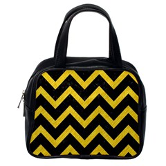Chevron9 Black Marble & Yellow Colored Pencil (r) Classic Handbags (one Side)
