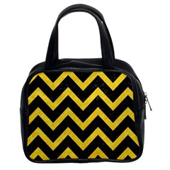Chevron9 Black Marble & Yellow Colored Pencil (r) Classic Handbags (2 Sides)