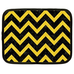 Chevron9 Black Marble & Yellow Colored Pencil (r) Netbook Case (xl)