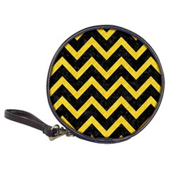 Chevron9 Black Marble & Yellow Colored Pencil (r) Classic 20 Cd Wallets