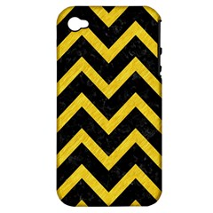 Chevron9 Black Marble & Yellow Colored Pencil (r) Apple Iphone 4/4s Hardshell Case (pc+silicone)