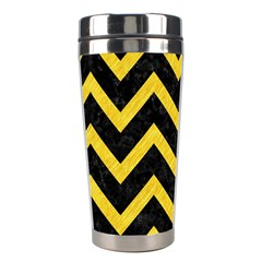 Chevron9 Black Marble & Yellow Colored Pencil (r) Stainless Steel Travel Tumblers