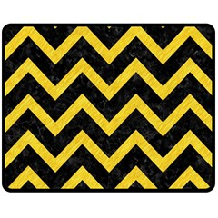 Chevron9 Black Marble & Yellow Colored Pencil (r) Double Sided Fleece Blanket (medium)